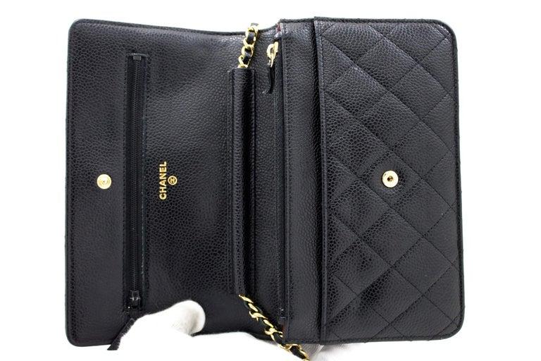 CHANEL Caviar WOC Wallet On Chain Black Shoulder Crossbody Bag Leather 6