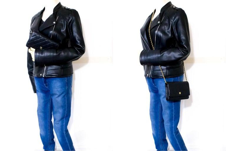 CHANEL Caviar WOC Wallet On Chain Black Shoulder Crossbody Bag Leather 7