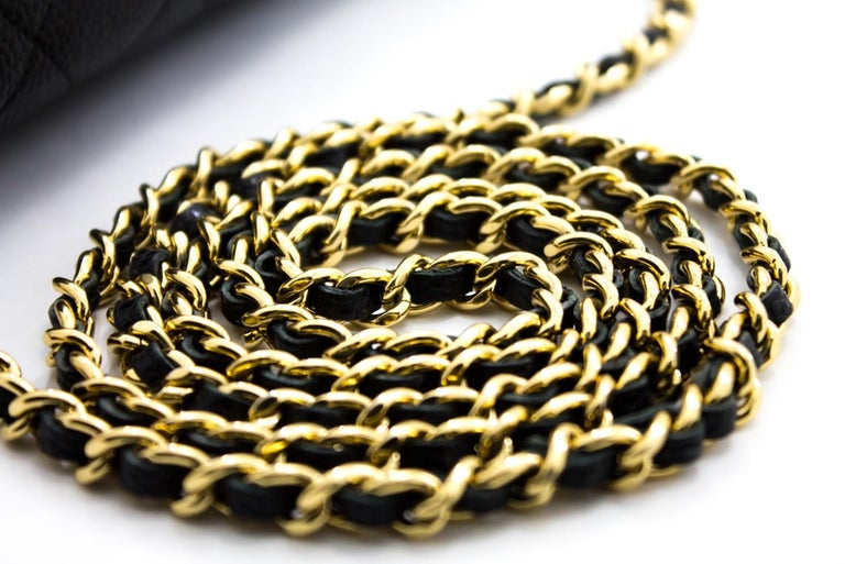CHANEL Caviar WOC Wallet On Chain Black Shoulder Crossbody Bag Leather 9