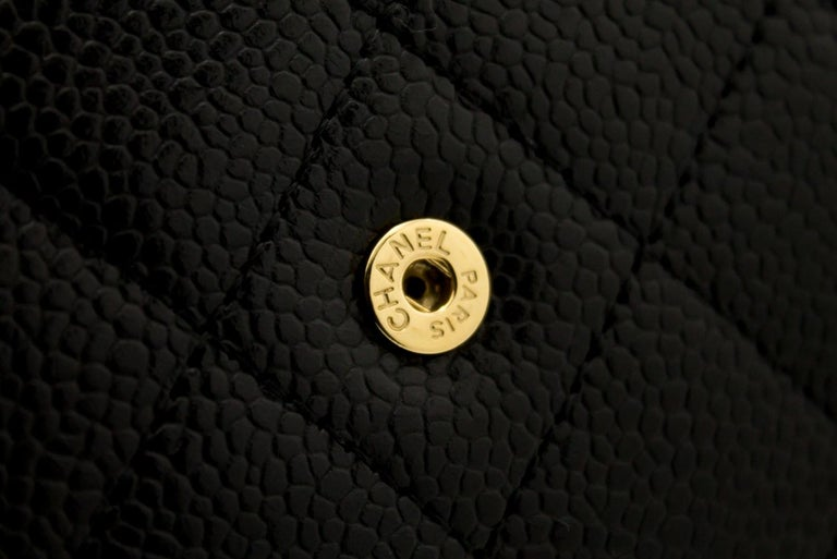 CHANEL Caviar WOC Wallet On Chain Black Shoulder Crossbody Bag Leather 10