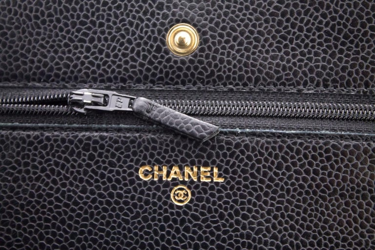 CHANEL Caviar WOC Wallet On Chain Black Shoulder Crossbody Bag Leather 11
