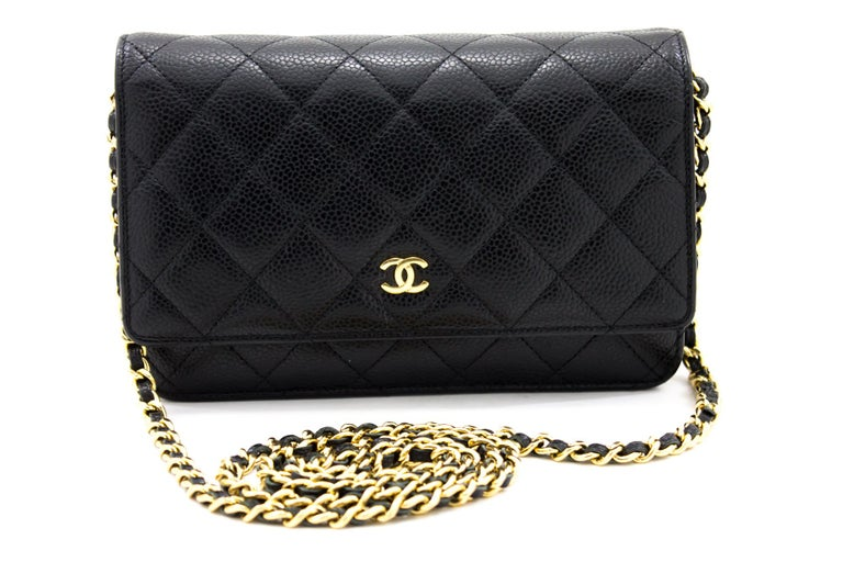 An authentic CHANEL Caviar Wallet On Chain WOC Black Shoulder Bag Crossbody. The color is Black. The outside material is Leather. The pattern is Solid. This item is Contemporary. The year of manufacture would be 2015. Conditions & Ratings Outside