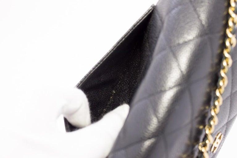 CHANEL Caviar WOC Wallet On Chain Black Shoulder Crossbody Bag Leather 16