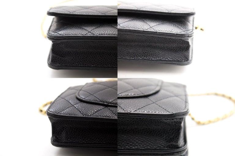 CHANEL Caviar WOC Wallet On Chain Black Shoulder Crossbody Bag Leather 2