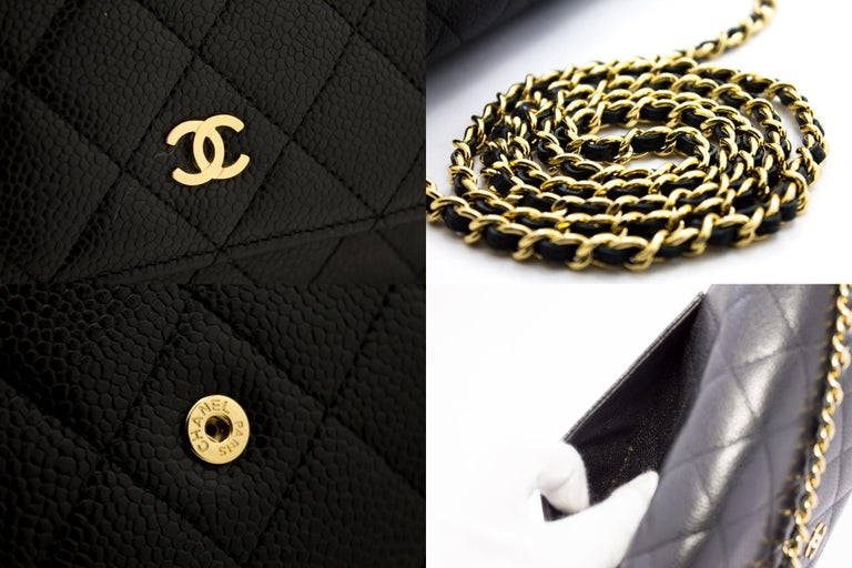 CHANEL Caviar WOC Wallet On Chain Black Shoulder Crossbody Bag Leather 3