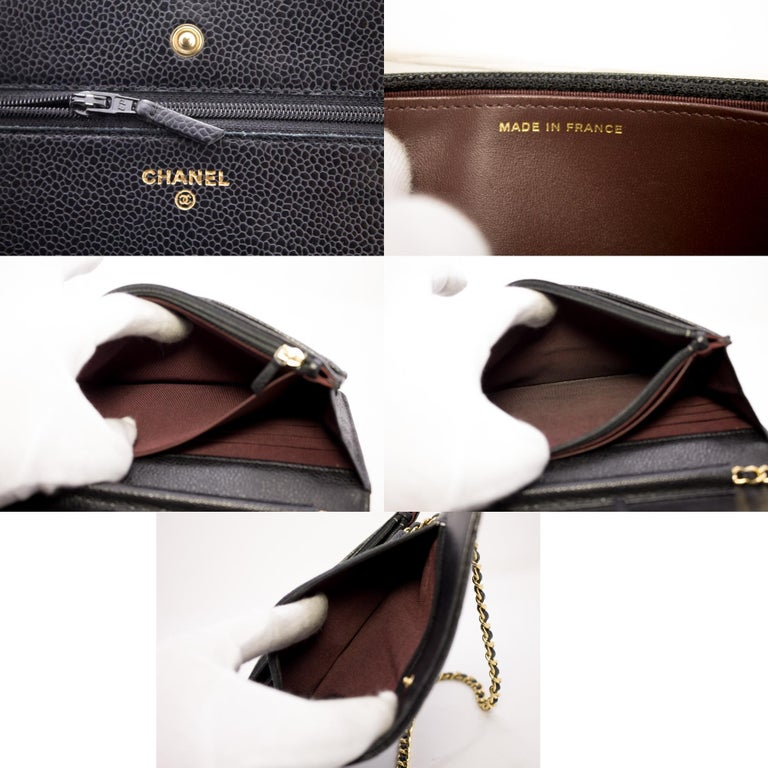 CHANEL Caviar WOC Wallet On Chain Black Shoulder Crossbody Bag Leather 4
