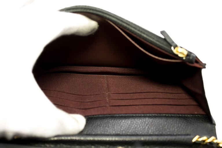 CHANEL Caviar WOC Wallet On Chain Black Shoulder Crossbody Bag Leather 5