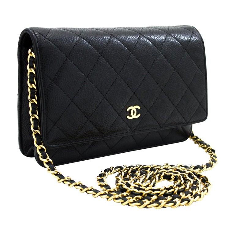 CHANEL Caviar WOC Wallet On Chain Black Shoulder Crossbody Bag Leather