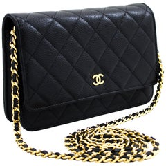 CHANEL Caviar WOC Wallet On Chain Black Shoulder Crossbody Bag Leather
