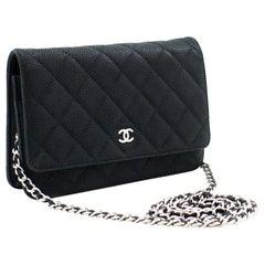 CHANEL Caviar WOC Wallet On Chain Dark Green Shoulder Bag