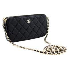 CHANEL Caviar WOC Wallet On Chain Double Zip Chain Shoulder Bag