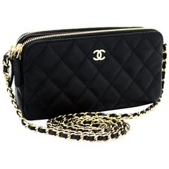 CHANEL Caviar WOC Wallet On Chain Double Zip Chain Shoulder Bag Leather