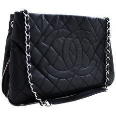 CHANEL Caviar Zip Around Chain Shoulder Bag Leather Black Silver