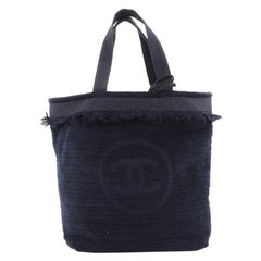 Chanel CC Beach Tote Fringe Terry Cloth Large
