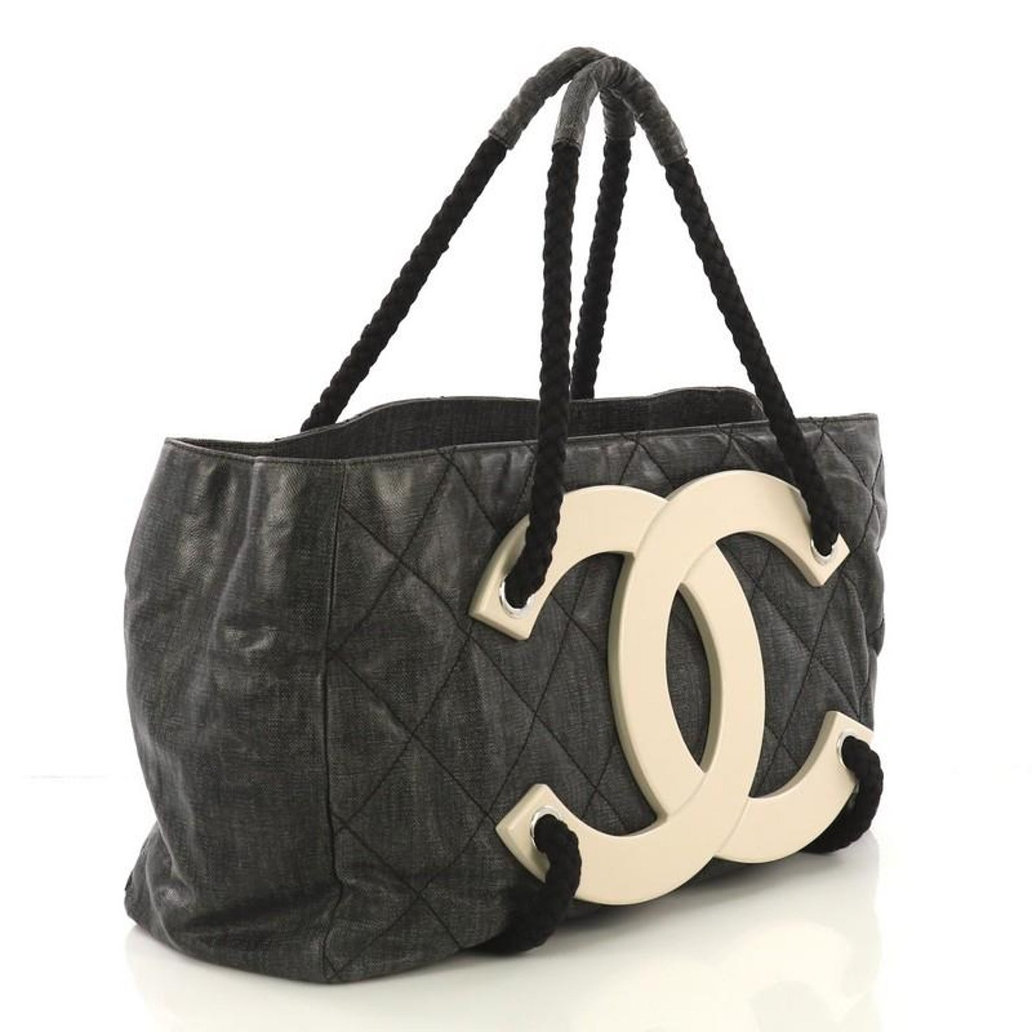 0ee22a024836 Chanel CC Beach Tote Quilted Coated Canvas Large For Sale at 1stdibs