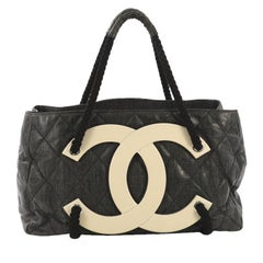 Chanel CC Beach Tote Quilted Coated Canvas Large