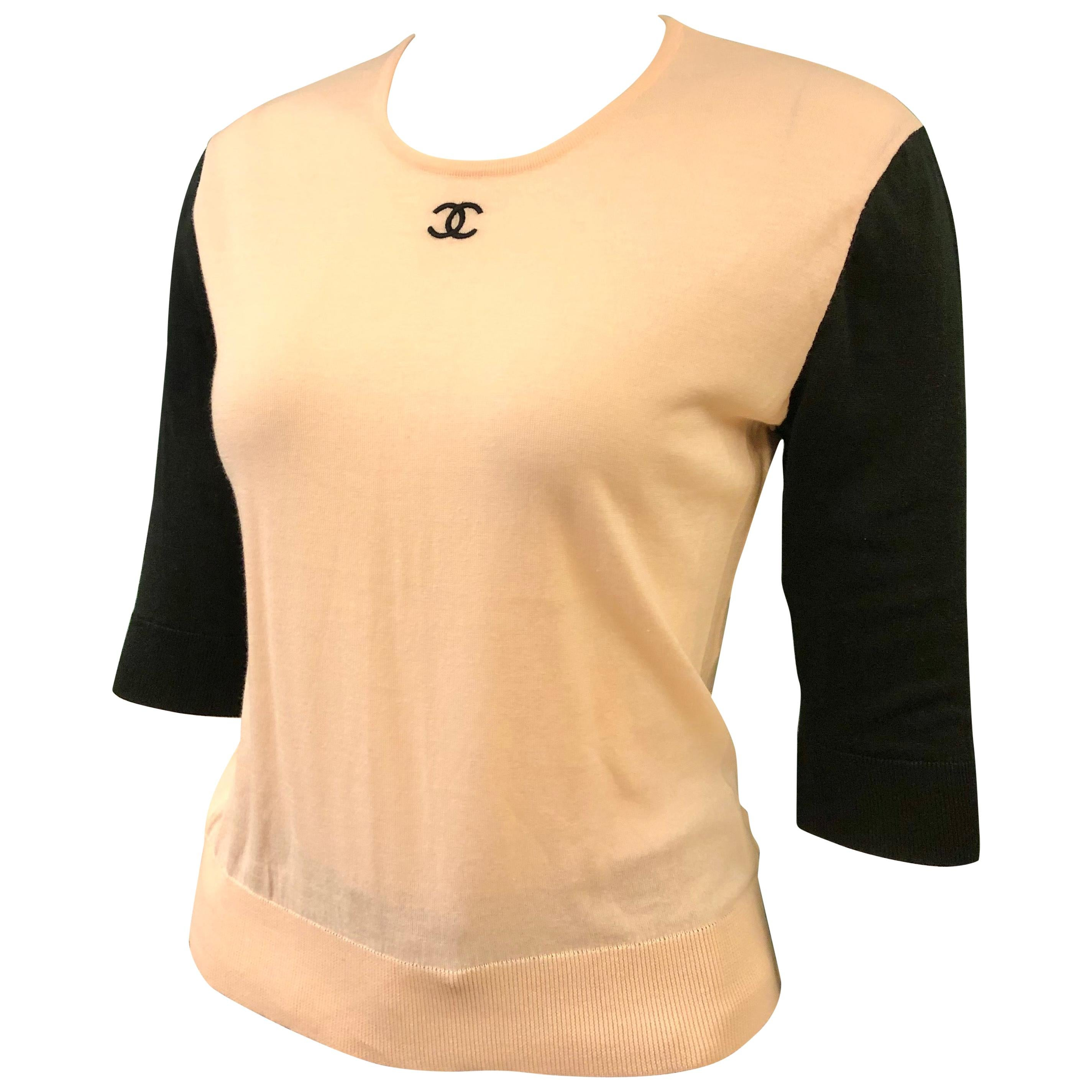 """Chanel """"CC"""" Black and Pink Cotton Top"""