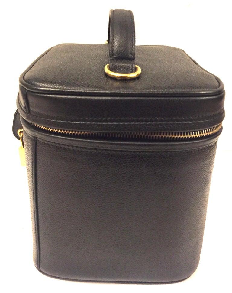 "Chanel ""CC""  Black Caviar Vanity Bag For Sale 1"