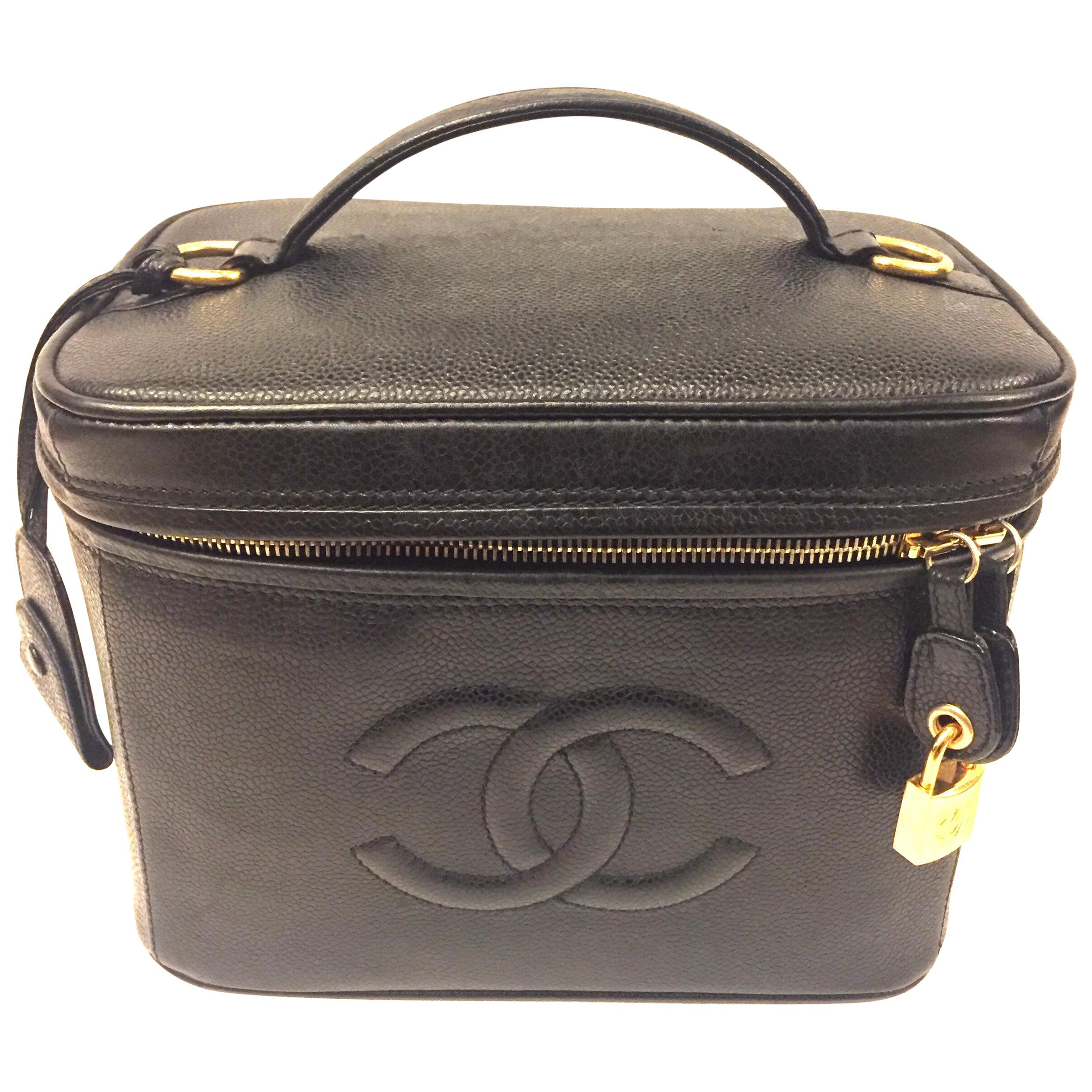 "Chanel ""CC""  Black Caviar Vanity Bag"