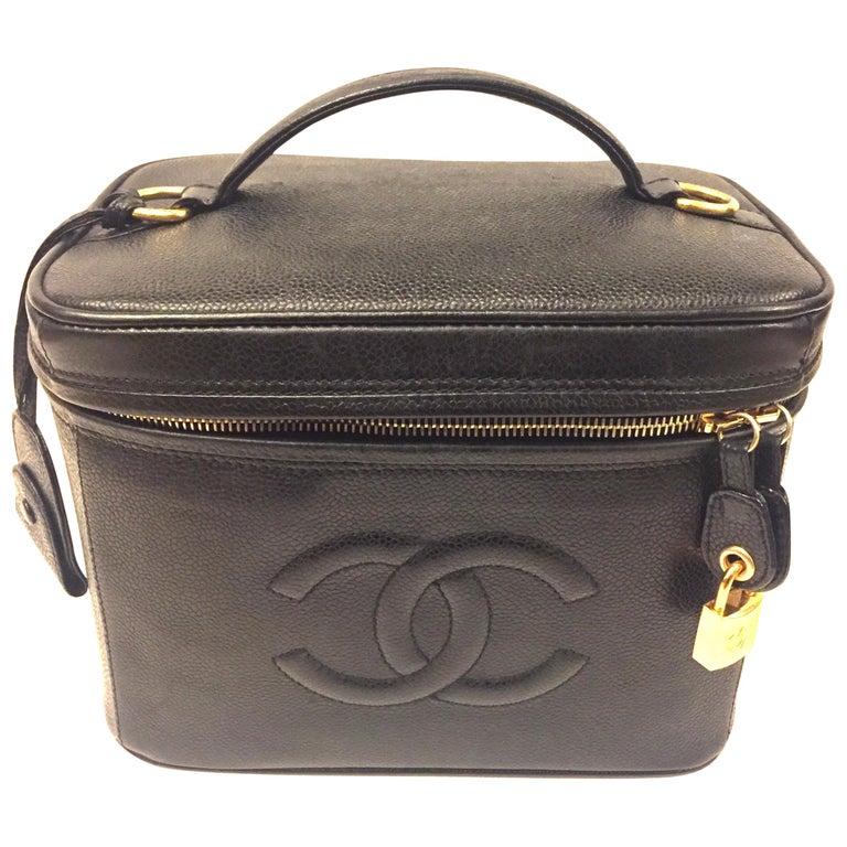 "Chanel ""CC""  Black Caviar Vanity Bag For Sale"