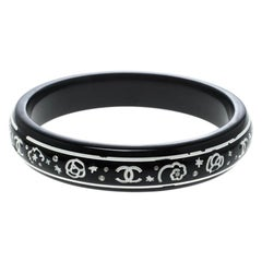 Chanel CC Black Crystal Embellished Wood Bangle Bracelet