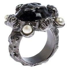 Chanel CC Black Enamel Silver Tone Cocktail Ring Size 54