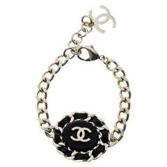 Chanel CC Black Leather Gold Tone Chain Link Bracelet