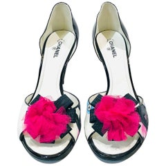 "Chanel ""CC"" Black Pink Ribbon Open Toes Heels"