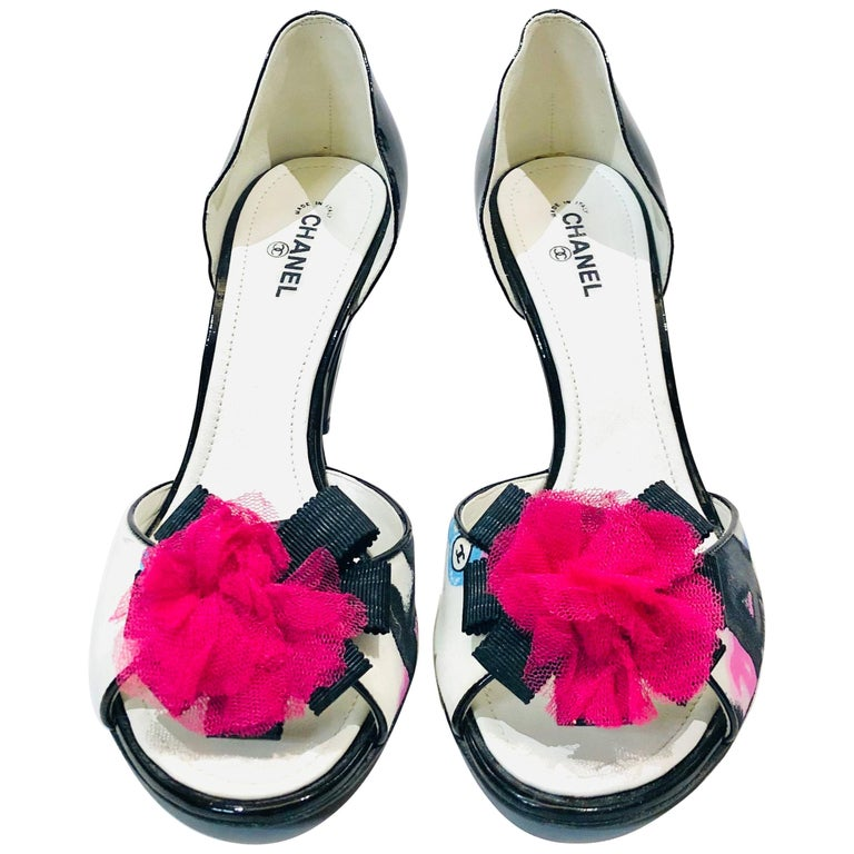 "Chanel ""CC"" Black Pink Ribbon Open Toes Heels  For Sale"