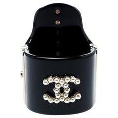 Chanel CC Black Resin Faux Pearls Embedded Asymmetric Cuff Bracelet