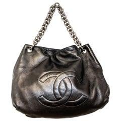 Chanel CC Black Soft Leather Modern Chain Hobo Bag 2007