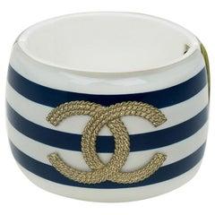 Chanel CC Blue and White Stripe Resin Bangle Bracelet
