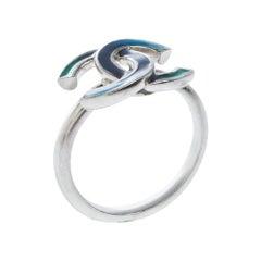 Chanel CC Blue Enamel Silver Tone Ring Size 54