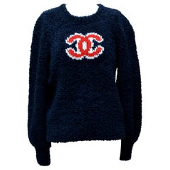 CHANEL CC Blue  Teddy Sweater   NEW  With Tags  Size 38FR