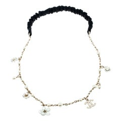 Chanel CC Camellia Charms Faux Pearl Gold Tone Headband