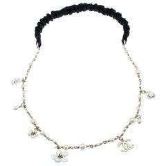 Chanel CC Camellia Charms Faux Pearl Gold Tone Headband