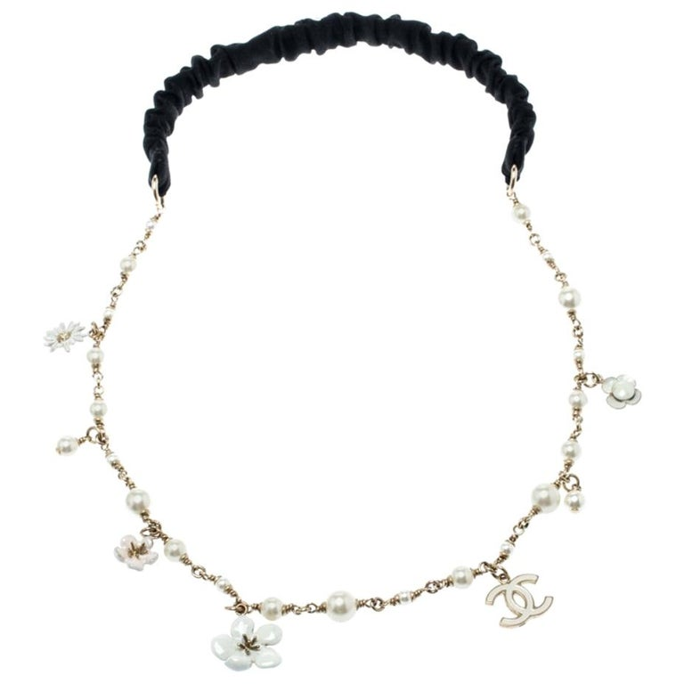 Chanel CC Camellia Charms Faux Pearl Gold Tone Headband For Sale
