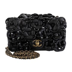 Chanel CC Camellia Flap Bag Lambskin with Patent Mini