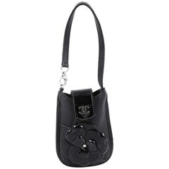 Chanel CC Camellia Phone Holder Patent and Leather Embellished Lambskin