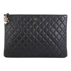 Chanel CC Casino O Case Clutch Quilted Lambskin Large