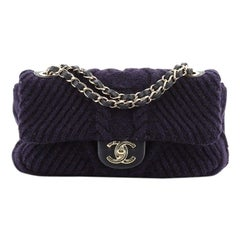 Chanel CC Chain Flap Bag Cable Knit Fabric with Calfskin Small