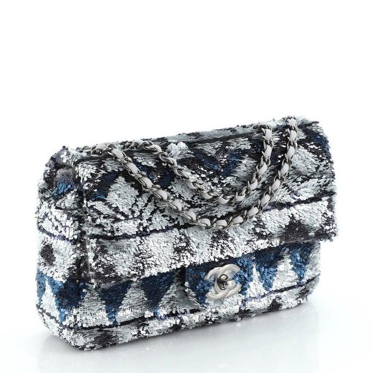 Black Chanel CC Chain Flap Bag Multicolor Sequins Mini