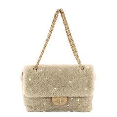 Chanel CC Chain Flap Bag Pearl Embellished Shearling Medium