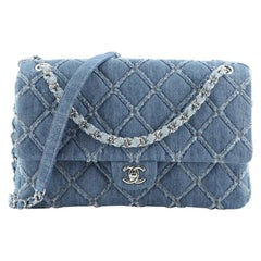 Chanel CC Chain Flap Bag Quilted Denim Jumbo