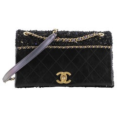 Chanel CC Chain Flap Bag Quilted Embellished Tweed and Quilted Calfskin Small