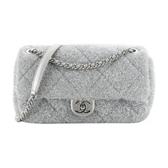 Chanel CC Chain Flap Bag Quilted Knit Pluto Glitter Medium