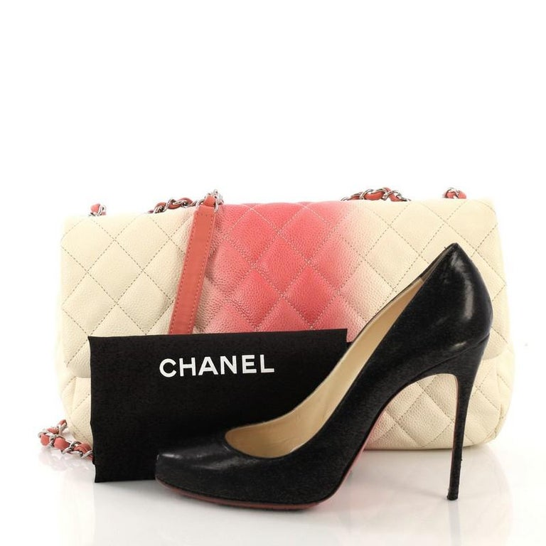 7b53a7f2a2fbc6 This Chanel CC Chain Flap Bag Quilted Ombre Caviar Large, crafted in  pink/white