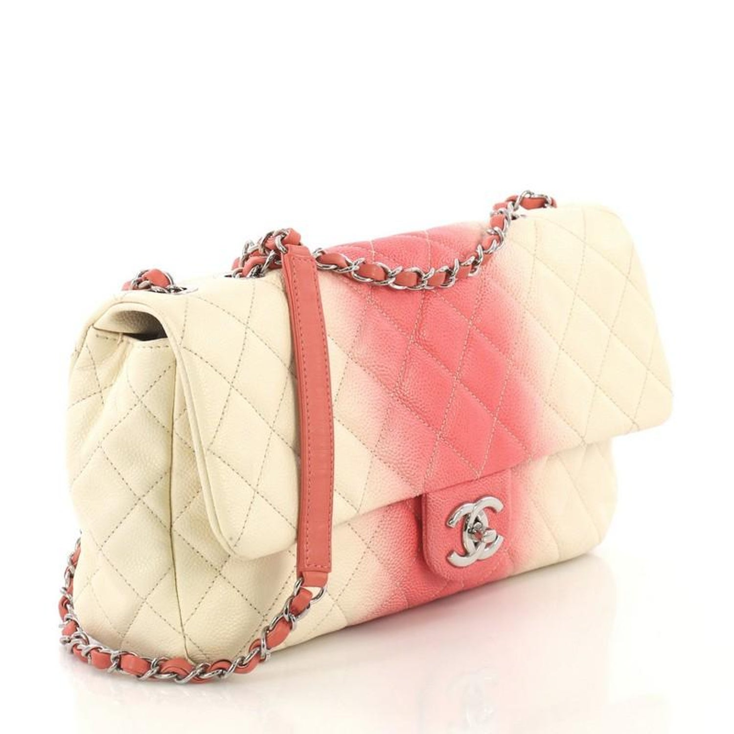 9d1c9ad60036af Chanel CC Chain Flap Bag Quilted Ombre Caviar Large For Sale at 1stdibs