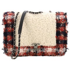 Chanel CC Chain Flap Bag Shearling with Tweed Small