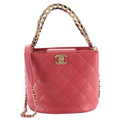 Chanel CC Chain Scarf Handle Bucket Bag Quilted Caviar with Silk Mini